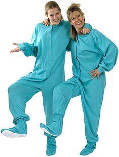 Big Feet Pajamas Adult Aqua Green Jersey Knit One Piece Footy