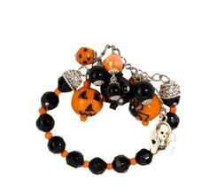halloween glass charm bracelet 9 in blackorange beads price halloween decorationscharm bracelets