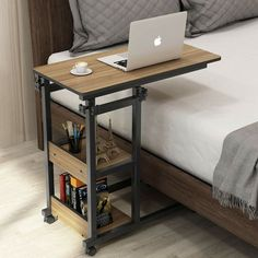 Tribesigns Snack Side Table, Mobile End Table Height Adjustable Bedside Table Laptop Rolling Cart C Shaped Tv Tray With Storage Shelves For Sofa Couch on Home Shelves Ideas 1750 Tv Tray Table, C Table, Couch Table, Chair Side Table, Tv Trays, Side Tables, Bed Side Table Ideas, Corner Table, Bed Table On Wheels