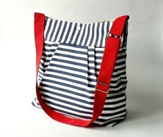 MEDIUM STOCKHOLM  NAVY and white Striped bag  Pleated French Messenger