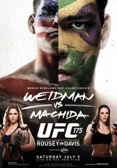 UFC Weidman vs Machida — Saturday, July live on Pay-Per-View from the Mandalay Bay Events Center in Las Vegas, Nevada. Mma, Mandalay, Alexis Davis, Ufc Events, Larry Flynt, Poster, Champs, Sports