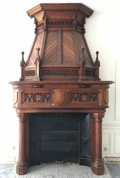 Large antique Neo-Gothic style fireplace with hood in carved calnut, century (Reference - Available at Gallery Marc Maison Antique French Furniture, Gothic Furniture, Art Deco Furniture, Furniture Projects, Wooden Fireplace, Fireplace Hearth, Fireplaces, Gothic Style Architecture, Architecture Design