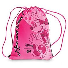 Minnie Mouse Sling Bag by GK   Disney Store Minnie is an affectionate mood as she expresses ''Love and kisses!'' on this Sling Bag by GK. Perfect for your young gymnast's visit to the gymnasium, its stretch fabric features Minnie's signature bows and polka dots and metallic pink straps.