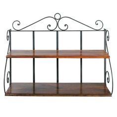 Wrought iron wall shelf unit W 100cm