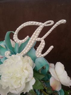 Ivory Pearl Cake Topper 5 Monogram  Any Letter A B C by OCsparkles, $59.00