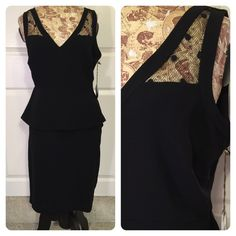 Eva Franco dress Perfect little black dress!  Top lace and peplum attached to a pencil skirt. Spandex for fit and comfort. Eva Franco Dresses
