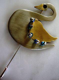 swan,handmade german silver, brass brooch