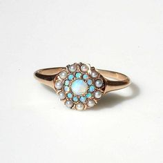 Victorian 14k Rose Gold Opals and Pearls Ring by ColletteCollette, $525.00
