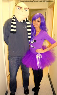 Hubby and I as Gru and his Purple Evil Minion from Despicable Me movie for Halloween. This would be super cute as a couples costume!!