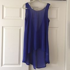 Sheer royal blue top Sheer royal blue top, open back, with silver along the neck line BLVD Tops Tunics