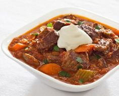 Hearty Beef Stew with Tomatoes Make something like this ahead of time to bring on trip