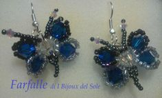 Farfalle. Butterfly. Swarovski crystals Capri blu Venduto-Sold. Disponibile su ordinazione - Available on request