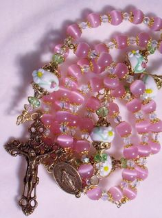 Pink Rosary Lampwork Beads Swarovoski Crystal by ToLoveAlways