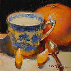 Blue and Orange by artist Elena Katsyura. #stilllife painting found on the FASO Daily Art Show - http://dailyartshow.faso.com