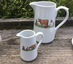 2 French Apilco pitchers with a farm scene of milk maids and cow, 34 oz and 8 oz | eBay!