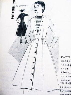 1950s LOVELY Brigance Designer Front Button Dress Pattern SPADEA 1208 Bust 35 Vintage Sewing Pattern