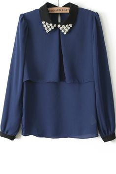 Bejeweled Collar Chiffon Blouse - OASAP.com