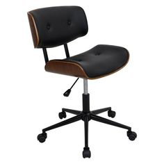 LumiSource Lombardi Height Adjustable Office Chair with Swivel - OC-JY-LMB WL+BK