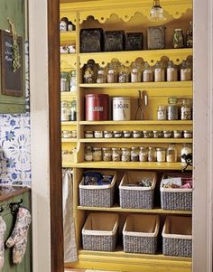 Organize your pantry with baskets for dry good and clear canisters for spices and cooking supplies.  That way you always know how much is left and where to find it.