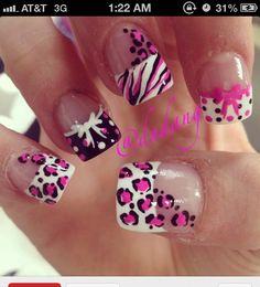 Leopard nails Get Nails, Hair And Nails, Love Nails, How To Do Nails, Pretty Nails, Crazy Nails, Crema Cara, White Nail Art, White Nails