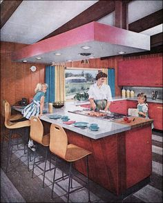 """I DO NOT smell my pie cooking. Where is my pie!""     1959 Mid Century Modern Kitchen by American Vintage Home, via Flickr"