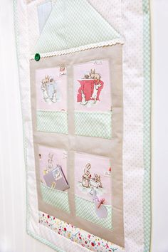 Bunnies and Cream Blog Tour: Bunny House Mini Quilt with pockets for mini notecards & treats Children's Quilts, Mini Quilts, Fabric Envelope, Apple Farm, Patchwork Ideas, Small Sewing Projects, Mug Rugs, How To Make Paper, Design Crafts