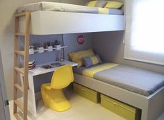 Kids Bedroom Designs, Bunk Bed Designs, Home Room Design, Kids Room Design, Small Apartment Bedrooms, Tiny House Bedroom, House Rooms, Home Bedroom, Unique Bunk Beds