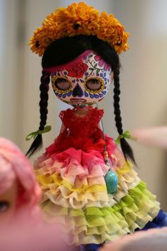 Dia de los Muertos/Day of the Dead~Skull painted doll.