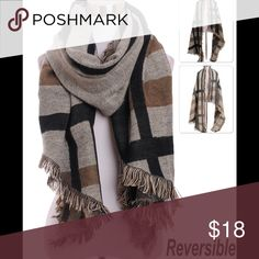 Women's Reversible Scarf Oversized reversible scarf.  Khaki and shades of brown. Brand new. Accessories Scarves & Wraps