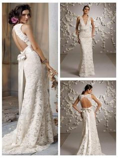 Ivory Alencon Lace over Champagne Charmeuse A-line formal bridal gown, sleeveless V neckline, Ivory ribbon with floral detail, open back, sweep train.