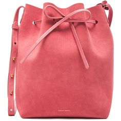 Mansur Gavriel Bucket Bag (£458) ❤ liked on Polyvore featuring bags, handbags, shoulder bags, suede shoulder bag, hand bags, red shoulder handbags, drawstring shoulder bag and red bucket bag
