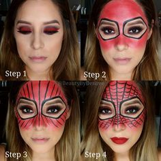 """""""Pictorial on my Spider-Woman look... Brows: @anastasiabeverlyhills Dip Brow Pomade in Chocolate... Step 1:Create an eye look using a red shade. I chose…"""""""