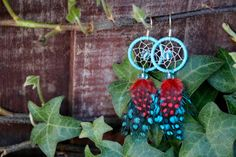 Bright Blue and Red Dream Catcher Earrings by nZuriArtDesigns
