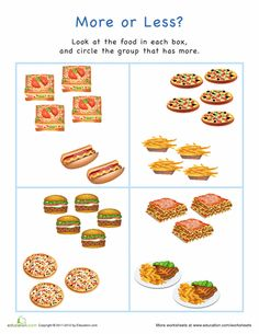 Worksheets: More or Less? Food