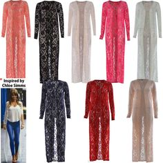 Women Ladies Cardi Long Length Lace Crochet Floral Open Boyfriend Maxi Cardigan