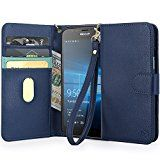 Lumia 950 Case, MP-Mall [Kickstand Function] [Card Slot] Premium PU Leather Folio Flip Wallet Case Cover With Wrist Strap For Microsoft Lumia 950 (Blue)