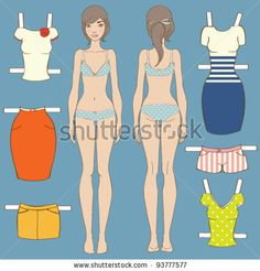 stock vector : Cute dress up paper doll Body template