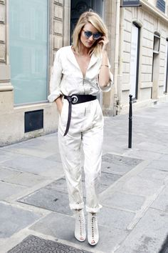 Who: Rosie Huntington-Whiteley What: Lace-Up Booties Why: The model stepped out in Paris in a game-changing floral flight suit, paired with summer-ready lace up booties and Dior sunnies. Get the look now: Marsell boots, $578, farfetch.com.