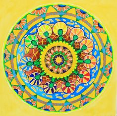 Symmetrical Sun Mandala  Painting acrylic by LilyMokus on Etsy