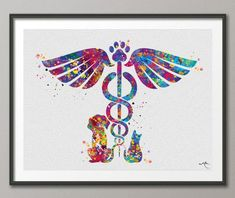 This Veterinary Caduceus Watercolor Print Clinic Wall Art Cat Dog Animal Gift Veterinarian Office Vet Clinic Decor Animal Hospital is just one of the custom, handmade pieces you'll find in our giclée shops. Vet Tech Tattoo, Veterinarian Office, Vet Med, Vet Clinics, Veterinary Medicine, Watercolor Print, Pet Gifts, Wall Art, Art Prints