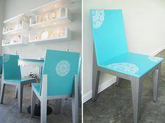 interior pastelería, muebles para pastelería La Dulce Acapulco, sillas turquesa, serigrafia, interiores algreca.com
