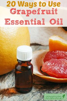 Grapefruit Essential Oil is used for everything from cellulite to anxiety from body scrubs to furniture polish! Click for 20 Grapefruit Essential Oil Uses!