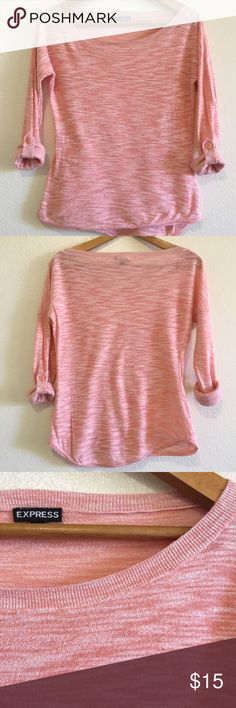 Express pink long sleeve boat neck top Express pink and white textured long sleeve boat neck top with button catch for roll up sleeves.  Light/semi sheer material. Express Tops Tees - Long Sleeve