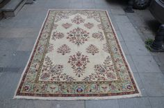Beige and Green Turkish Rug , Traditional NON Overdyed Rug, Handmade Rug, Vintage oushak Rug  (273 cm x 163 cm)  8,9 ft x 5,3 ft model: 826 by OushakRugs on Etsy