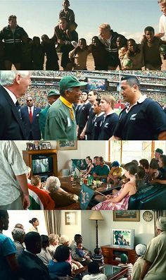 Invictus is a rugby movie,this picture shows the team while having people watch them on the television and having Morgan Freeman who plays Nelson Mandela saying ''Good Luck'' to the team member's.