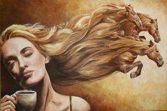 sogno in liberta.jpeg - Painting,  150x100 cm ©2014 da Catia Biso -  Pittura, Olio