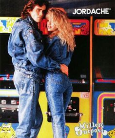 #80s Jordache Jeans ad - like this ad needed more 80s stuff in it - the Pac-Man arcade games throw it right over the top! http://www.liketotally80s.com/jordache-jeans.html