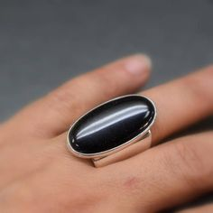 Large black onyx ring sterling silver Big oval black stone