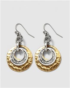 Shakira Earring - Gently hammered golden discs accented with embellished silvery hoops.  Glass and metal.  Wire. $20