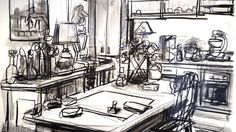 John Bokor, Mother in Law's Kitchen, charcoal and wash on paper. Artist Cv, National Art School, Wilson Art, Drawing Interior, Bachelor Of Fine Arts, Drawing For Beginners, Arts Award, Impressionist, Home Art